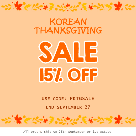 Fallindesign 2018 Korean Thanksgiving Day Sale